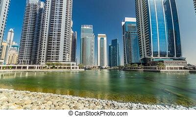Residential buildings in Jumeirah Lake Towers timelapse...