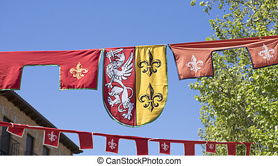knight, medieval coats of arms in a traditional ancient art...