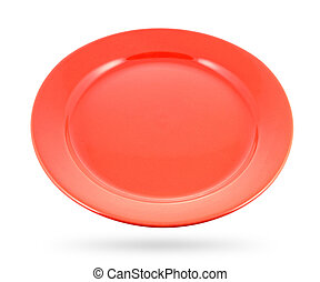 Red plate isolated on a white background. With clipping path