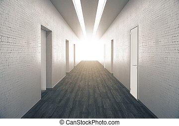 Corridor with wooden floor - Corridor interior with dark...