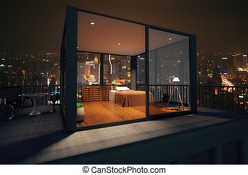 Loft bedroom interior behind glass doors View from balcony...