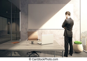 Thoughtful man and whiteboard - Thoughtful businessman in...