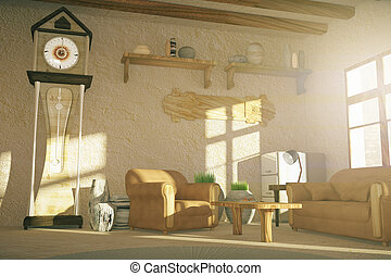 Country style living room interior design with floor clock...