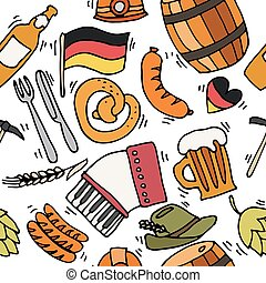 Germany travel pattern with traditional food and attractions...