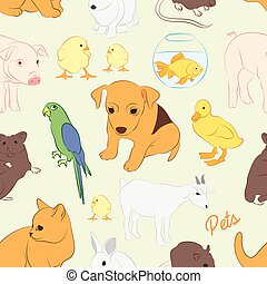 Animals pets vector colorful pattern Illustrations of...