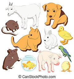 Animals pets vector colorful icons set Illustrations of...