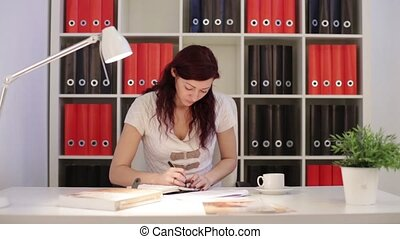 Business Woman Writing In Diary HD