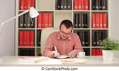 Businessman Wrote In The Diary HD