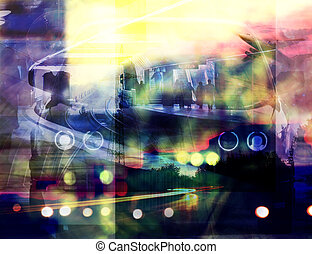 mixed media splashed urban background - abstract double...