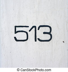 Number 513 - hand painted house number five hundred and...