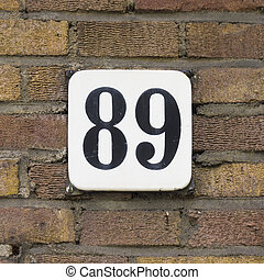 Number 89 - Enameled house number eighty nine