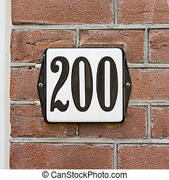 Number 200 - Enameled house number two hundred