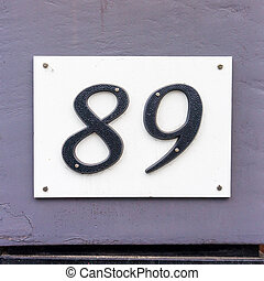 Number 89 - Plastic house number eighty nine