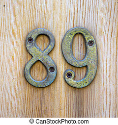 Number 89 - Metal house number eighty nine
