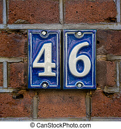 Number 46 - House number forty six Two separate ceramic...