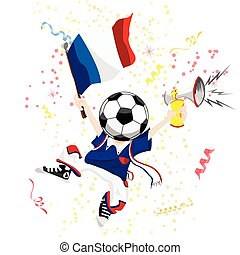 France Soccer Fan with Ball Head Editable Vector...