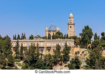 Dormition Abbey in Jerusalem. - Dormition Abbey on Mount...