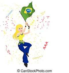 Brazil Soccer Fan with flag.