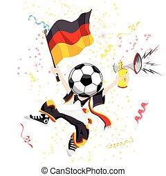 German Soccer Fan with Ball Head