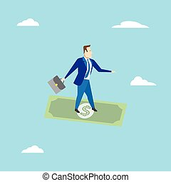 Businessman surfing on dollar. Business concept. Vector illustration.
