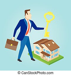 Real estate agent with a key and house model for sale....