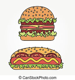 Vector thin line icon hot dog and burger. For web design and...