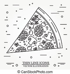 Vector thin line icon pizza. For web design and application...