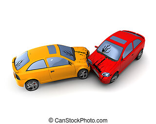 cars crash - 3d illustration of road accident cars crash,...