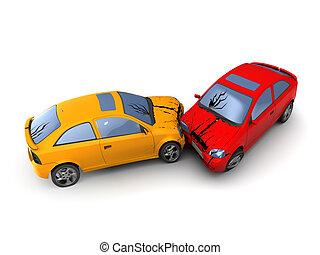 cars crash - 3d illustration of road accident cars crash,...