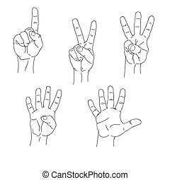Set of hands counting one to five inner side