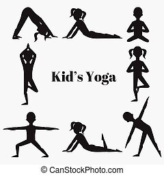 Yoga kids silhouette set. Gymnastics for children and...
