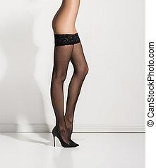 hermoso, medias, piernas