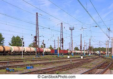 carga, tren, con, tanques, Se mueve, en, oxidado,...