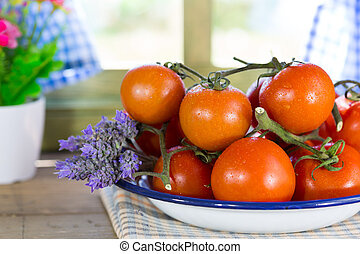 Ripe tomatoes spread - Fresh ripe tomatoes spread by a...