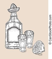 Bottle of tequila drink Hand drawn two glasses of tequila...