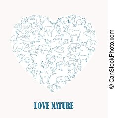 Hand drawn forest animals. Animals silhouettes vintage. Vector illustration in line art isolated