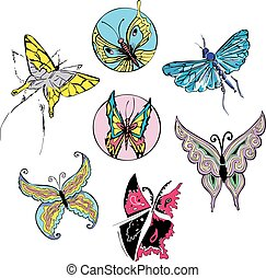 Butterflies and Moths Set Color vector illustrations