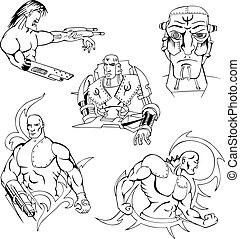 Cyborgs and Robots Set - Cyborgs and Robots. Set of vector...