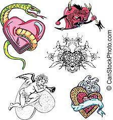 Set of cartoon hearts