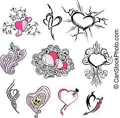 Set of miscellaneous hearts Vector illustrations