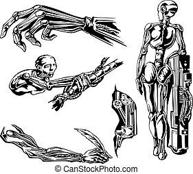 Cyborgs Biomechanics Set. Black and white vector...