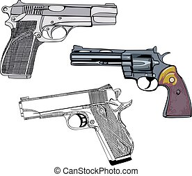 Guns Set - Pistols and Revolver Vector illustrations