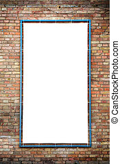 Empty white isolated billboard on the red brick wall
