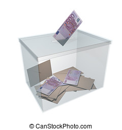Banknote vote in glass ballot box - transparent ballot box...