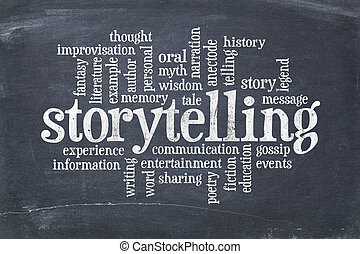 storytelling word cloud - storytelling word cloud on an old...