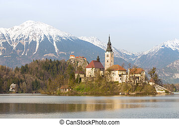 Lake Bled with island church, Slovenia, Europe - Bled with...