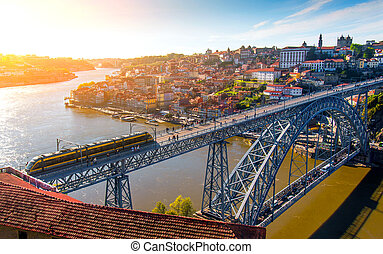 Oporto City - Cityscape of Oporto downtown touristic Ribeira...