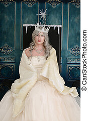 ice queen on throne with fur wrap
