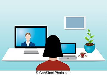 Color videoconferencing concept - Woman is looking at a man...