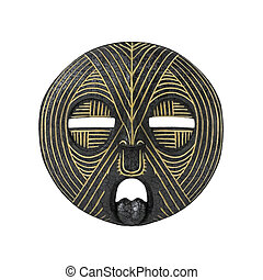Old antique african tribal mask on white background - Old...